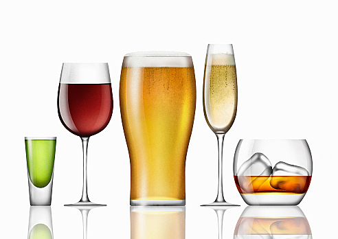Range of different alcoholic drinks in a row